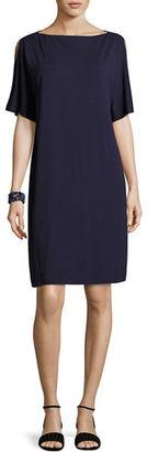 Eileen Fisher Split-Sleeve Jersey Shift Dress $198 thestylecure.com