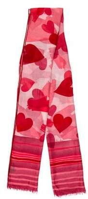 Loro Piana Heart Pattern Cashmere Scarf