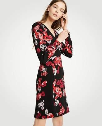 Ann Taylor Petite Winter Floral Jacquard Knit Flare Dress