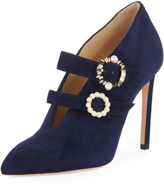 Jimmy Choo Larissa Suede Double-Strap Embellished Pumps