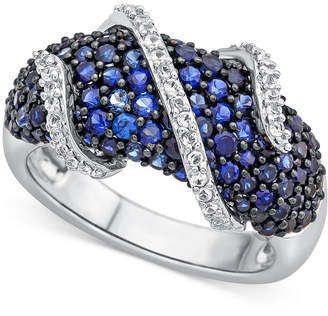 Macy's Lab-Created Blue Sapphire (2-1/3 ct. t.w.) and White Sapphire (1/4 ct. t.w.) Ring in Sterling Silver