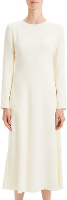 Theory Textured Viscose Cady A-Line Long-Sleeve Dress