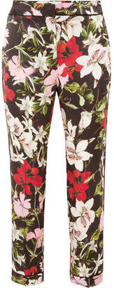 Erdem Ginnie Cropped Floral-print Silk-satin Straight-leg Pants - Black