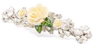 Dolce & Gabbana Rose And Crystal Embellished Hair Slide - Womens - White