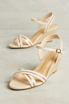Vicenza White Cross Strap Wedge Sandals $138 thestylecure.com
