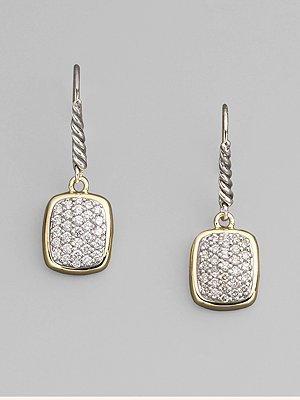 David Yurman Diamond, Sterling Silver & 18K Yellow Gold Drop Earrings