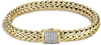 John Hardy Diamond 18k yellow gold medium woven chain bracelet