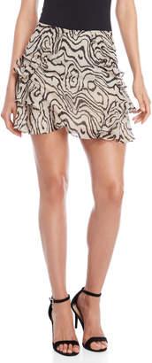 Derek Lam 10 Crosby Leopard Ruffle Trim Chiffon Skirt
