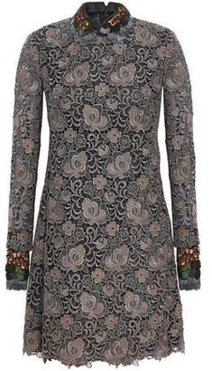 Valentino Faux Feather-trimmed Metallic Guipure Lace Mini Dress