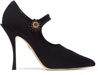 Dolce & Gabbana Crystal-embellished Stretch-knit Mary Jane Pumps - Black