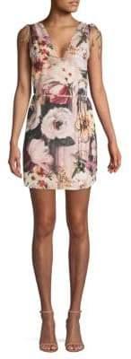 Haute Hippie Floral-Print Shift Mini Dress