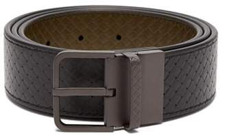 Bottega Veneta Intrecciato Effect Reversible Leather Belt - Mens - Black Green