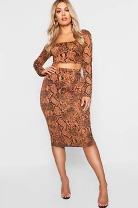 boohoo Plus Tan Snake Print Bodycon Midi Skirt