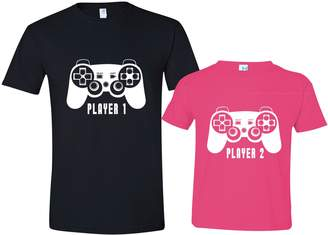 Texas Tees Player 1 Shirt, Player 2 Toddler Shirt, Gift for Father, Mens 2XL & Pink Size2