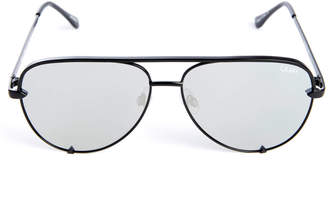 Quay High Key Mini Black And Silver Aviator Sunglasses