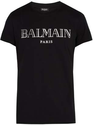 Balmain Paris Logo T Shirt - Mens - Black