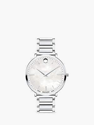 Movado 607170 Women's Ultra Slim Bracelet Strap Watch, Silver/White