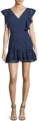 LoveShackFancy Alanis V-Neck Eyelet Cotton Mini Dress