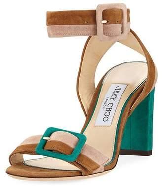 ... Jimmy Choo Dacha Block-Heel Suede Colorblock Sandal
