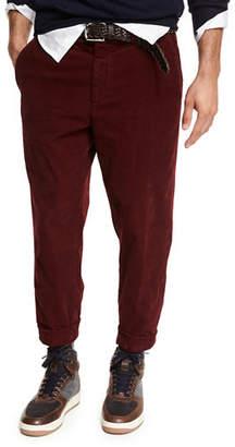 Brunello Cucinelli Corduroy Flat-Front Pants