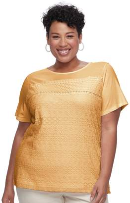 Croft & Barrow Plus Size Mixed Lace Short Sleeve Tee