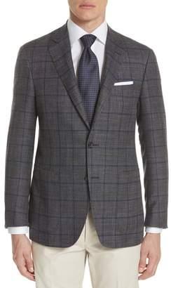 Canali Kei Classic Fit Windowpane Wool Blend Sport Coat