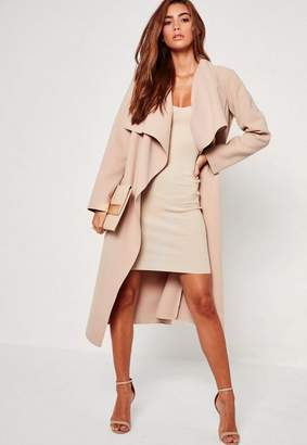Oversized Waterfall Duster Coat Nude $67 thestylecure.com