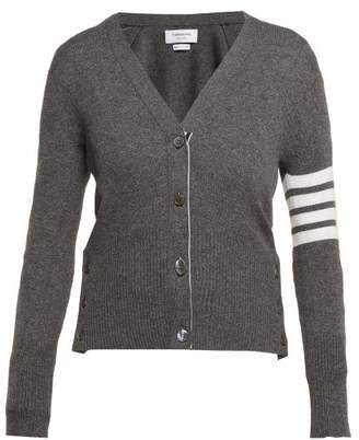 Thom Browne V Neck Cashmere Cardigan - Womens - Grey Multi