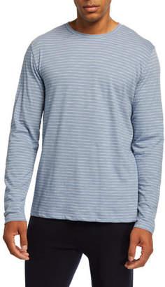 Vince Men's Striped Long-Sleeve Slub Jersey Crewneck T-Shirt