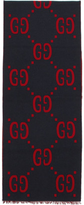 Gucci Blue and Red GG Jacquard Scarf