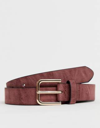 Asos Design DESIGN Wedding faux leather slim belt in burnished burgundy with silver buckle
