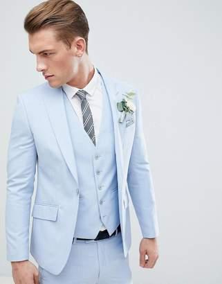 Moss Bros Wedding Skinny Suit Jacket In Light Blue