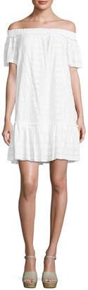Rebecca Taylor Embroidered Off-The-Shoulder Shift Dress
