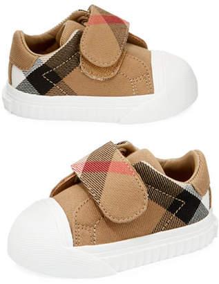 Burberry Beech Check Sneaker, Beige/White, Infant/Toddler Sizes 3M-5T