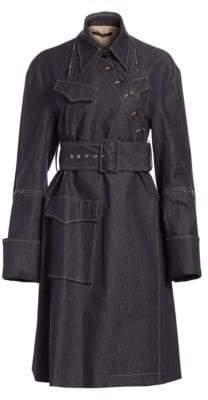 Asymmetric Belted Denim Coat