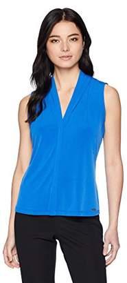 Calvin Klein Women's Petite Solid V-Neck Top