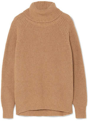 Nili Lotan Anitra Ribbed Cashmere Turtleneck Sweater - Camel