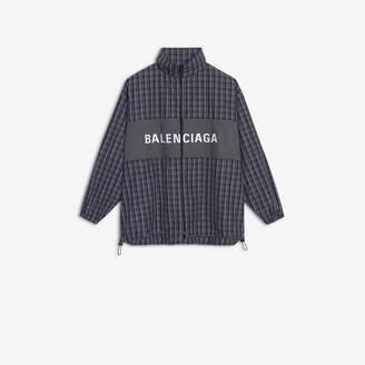 Balenciaga Zip-Up Jacket in black and white checked poplin