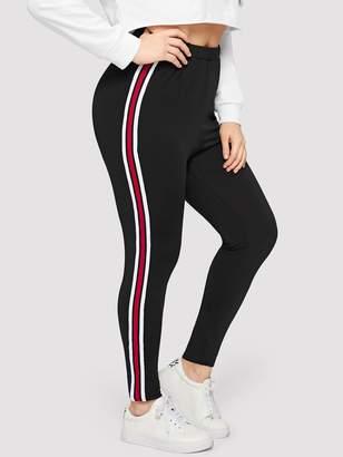 Shein Plus Striped Taped Side Leggings