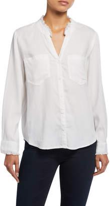 Velvet Heart Nazira Button-Down Long-Sleeve Shirt w/ Frayed Mandarin Collar