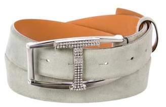 Tod's Suede Buckle Belt silver Suede Buckle Belt