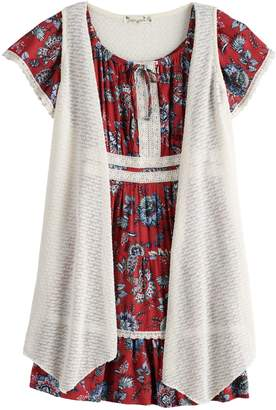 Knitworks Girls 7-16 & Plus Size Printed Dress & Sleeveless Cardigan Set