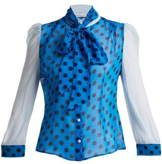 Edeltrud Hofmann - Pussy Bow Polka Dot Silk Blouse - Womens - Blue Print