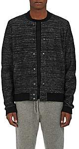 Barneys New York MEN'S MÉLANGE WOOL-BLEND BOMBER JACKET-BLACK PAT. SIZE M
