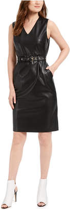 Calvin Klein Belted Faux-Leather Sheath Dress