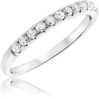 My Trio Rings 3/8 Carat T.W. Diamond Ladies Wedding Band 10K White Gold- Size 9.5