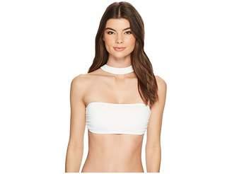 MICHAEL Michael Kors Geometric Glamour Solids Choker Bandeau Bikini Top w/ Removable Soft Cups