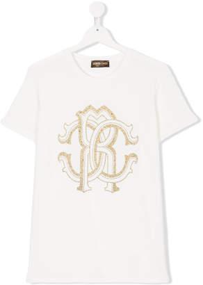 Roberto Cavalli Teen embellished logo T-shirt