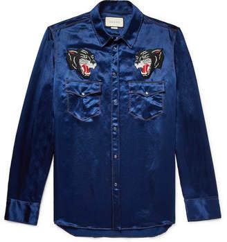 Gucci Appliquéd Satin Western Shirt
