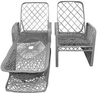 One Kings Lane Vintage Spun Chaise Longue & Armchair - Set of 2